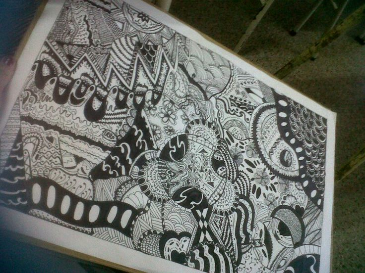 Zentangle dibujo blanco y negro