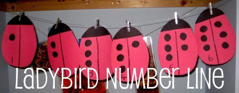 ladybug number line - with extra ideas for maths play SET up like TEN FRAMES