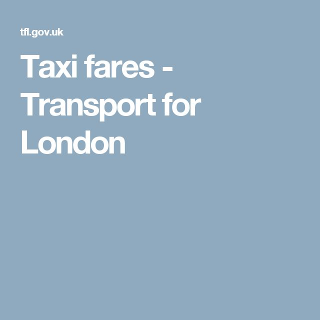 Taxi fares - Transport for London