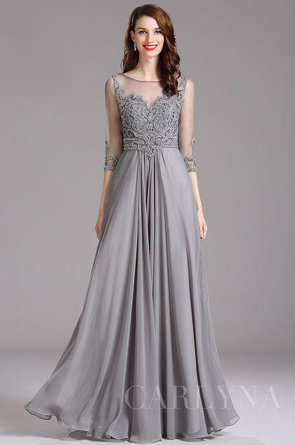 Carlyna Elbow Sleeves Beaded Grey Prom Dress (E62008)