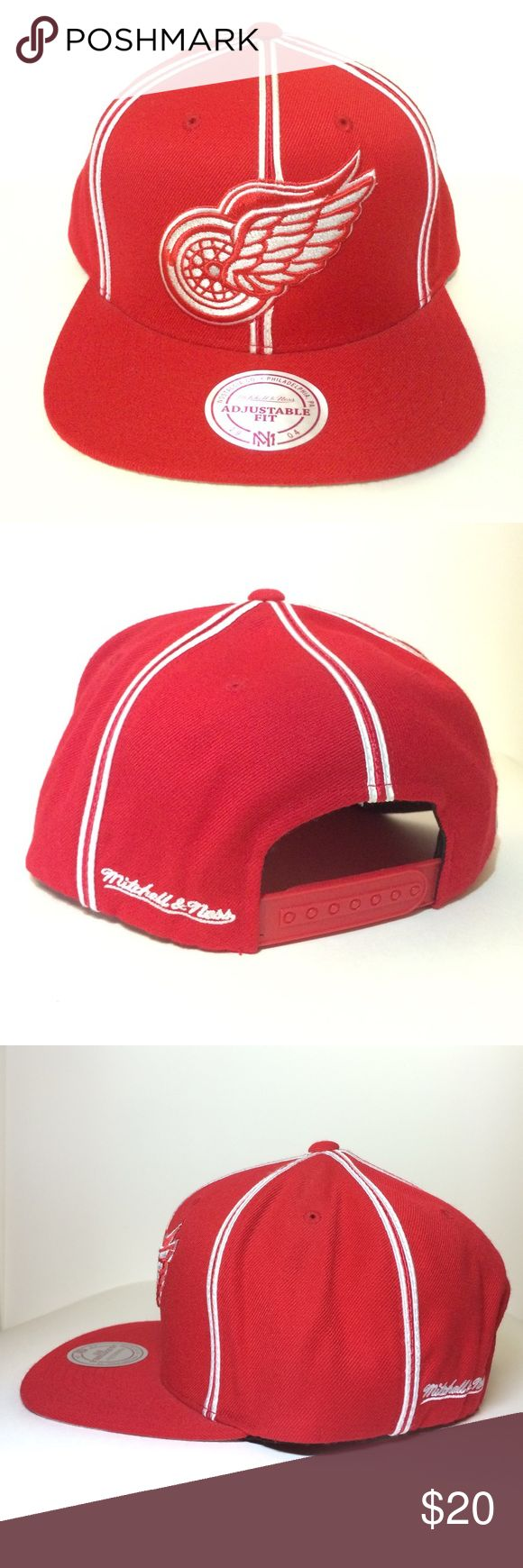 Mitchell & Ness Snapback Hat For sale is a 100% authentic DETROIT RED WINGS Mitchell & Ness snapback hat (BRAND NEW/NEVER WORN). Purchased directly from their Philadelphia store location, Mitchell & Ness is praised for their fine quality team memorabilia. This hat is part of their NHL Vintage Hockey collection and has been kept in storage since I acquired it in 2012. This flat brimmed hat has a structured high crown fit in the front with an unstructured fit in the back. #goals #rare…
