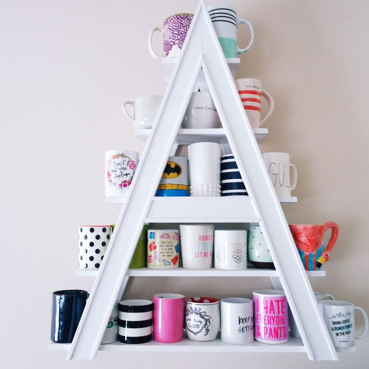 Storage tip: Save valuable cupboard space by displaying coffee mugs on a decorative shelf! (Sponsored pin)