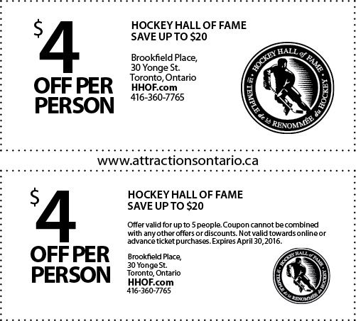 Hockey Hall Of Fame Coupon Attractions Ontario is committed to providing you with fun-filled ideas for your next vacation. Money saving coupons to Ontario's top attractions to make your trip more affordable.