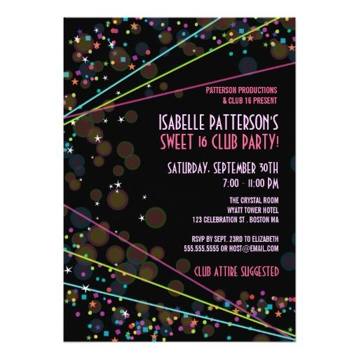 414 best dance birthday party invitations images on pinterest neon lights sweet 16 club party invitation stopboris Choice Image