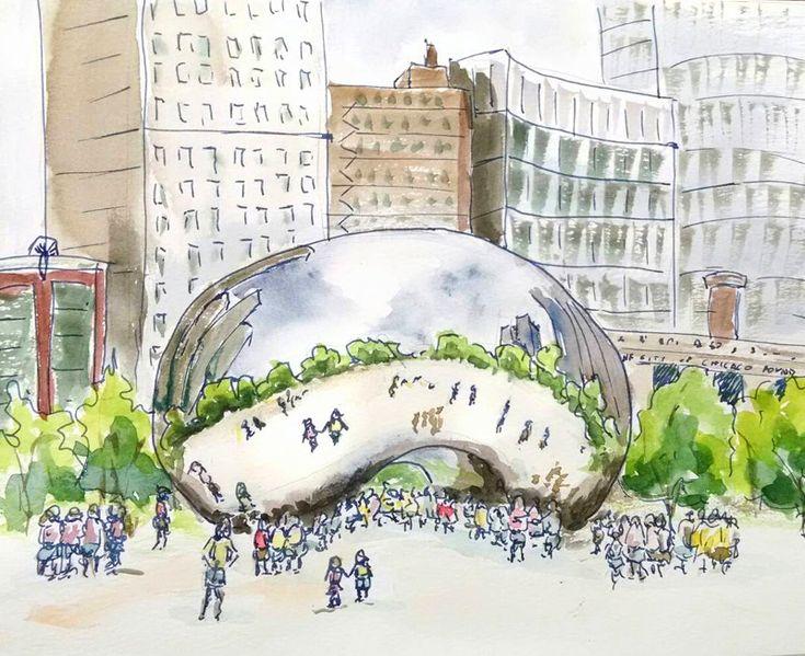 Urban Sketchers Symposium, Journal Flip #urbansketching #urbansketch #travel #chicago #journal #journalflipthrough #sketch #watercolor #usksymposium