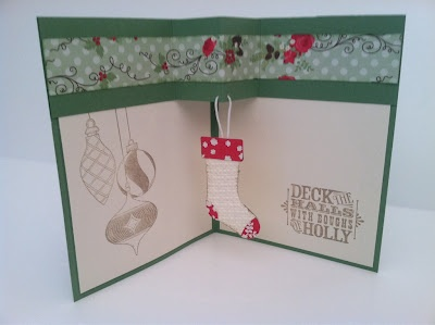 "Love how she made the stocking ""hang"" on the inside. You could hang just about anything inside!"