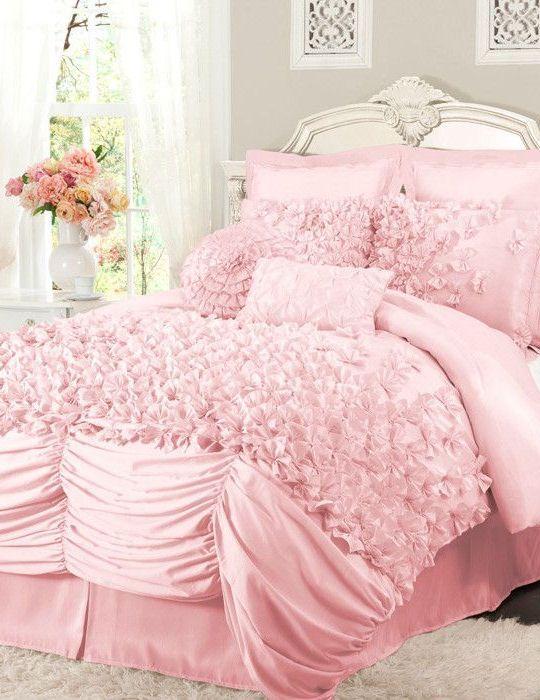 Pink Ruffled Comforter Set L O V E Comforters