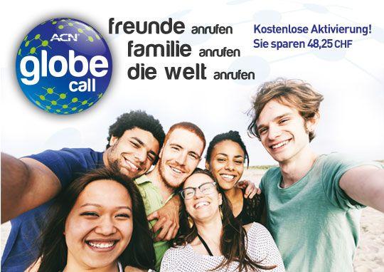 Globe Call  ACN Globe Call ist das neueste Angebot für digitale Telefonie von ACN. Speziell für Sie entwickelt, haben wir diese international ausgerichteteten Tarife auf Kundenbedürfnisse zugeschnitten und viele der beliebtesten Anrufziele der Kunden des digitalen Telefondienstes von ACN aufgenommen. Mit ACN Globe Call können Sie Freunde und Familie im Ausland anrufen – sowohl auf Mobil- als auch auf Festnetznummern! Stecken Sie Ihren