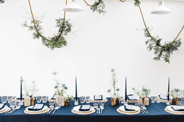 Laura Jackson: Jackson&Levine 'Round To Ours' INDIGO Indigo linen, rope flowers, taper candles, wicker place mats, rye London