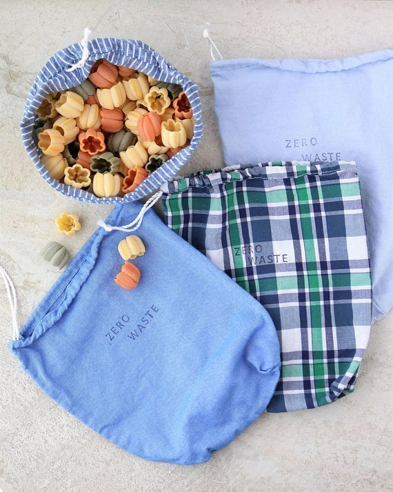 Set of 2-100/% Reclaimed Cotton Bulk Bags Zero Waste Produce Bags Reusable Washable