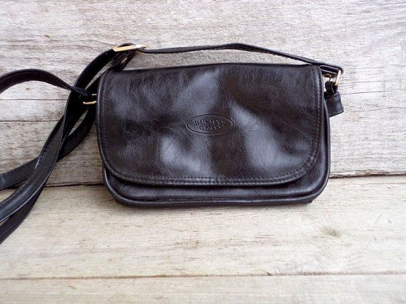 1980s Vintage Shoulder Bag Black Small Purse Small Leather Bag Leather Coins Purse