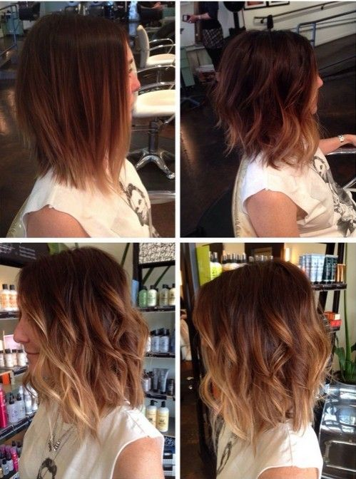 Messy, Wavy Long Bob Haircut - Ombre Hairstyle Ideas 2015