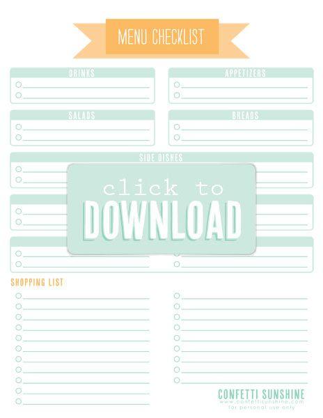 party planner menu checklist birthdays pinterest party
