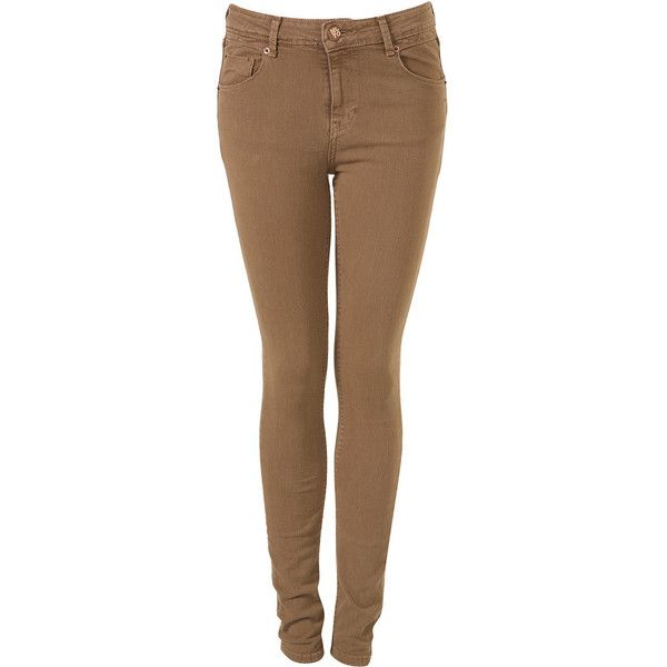 Moto Light Camel Jamie Jeans ($80) ❤ liked on Polyvore featuring jeans, pants, bottoms, pantalones, calças, women, denim skinny jeans, cut skinny jeans, skinny jeans and brown jeans