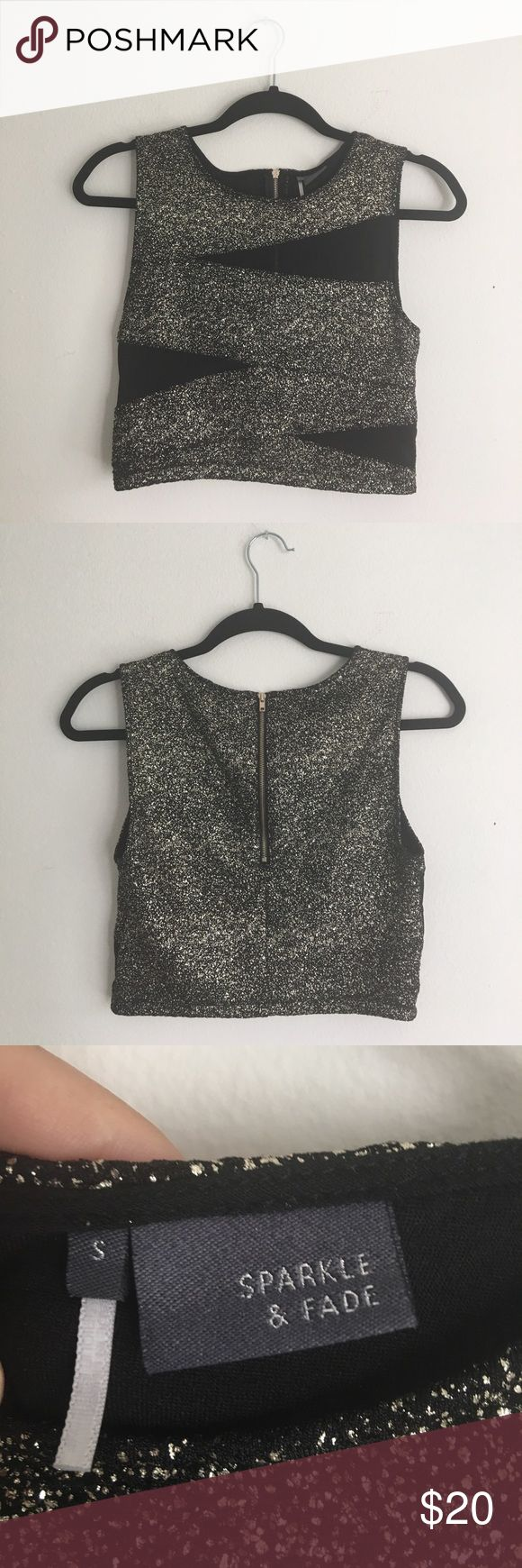 Sparkle & Fade | Crop Top Fun gold sparkly crop top with black sheer cutouts. Size small with back zip. Stretchy fabric and in excellent condition. Sparkle & Fade Tops Crop Tops