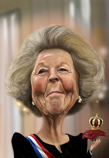 Caricature Queen Beatrix from Holland by Edo Draaijer Studios
