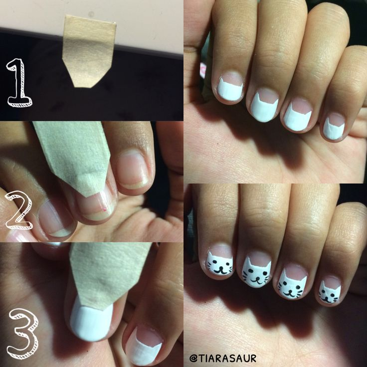 Tutorial cat nail art. This is how to shape CAT HEAD perfectly. #catnailart #cat #tutorialnailart #tiarasaur