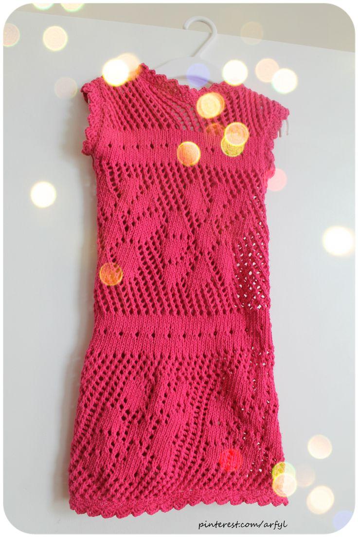 dress kleid mädchen stricken ajour muster ажурна в'язана  сукня для дівчинки для дітей спицями вязаное ажурное платье спицами для детей девочки