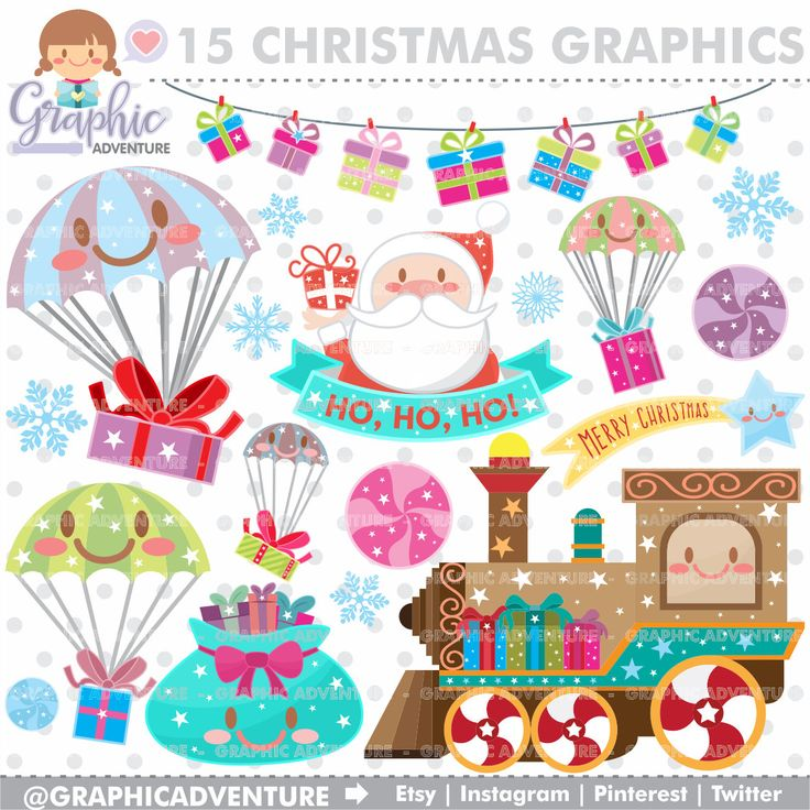 75%OFF - Christmas Clipart, Christmas Graphics, COMMERCIAL USE, Kawaii Clipart, Christmas Clip Art, Christmas Party, Christmas Train, Winter