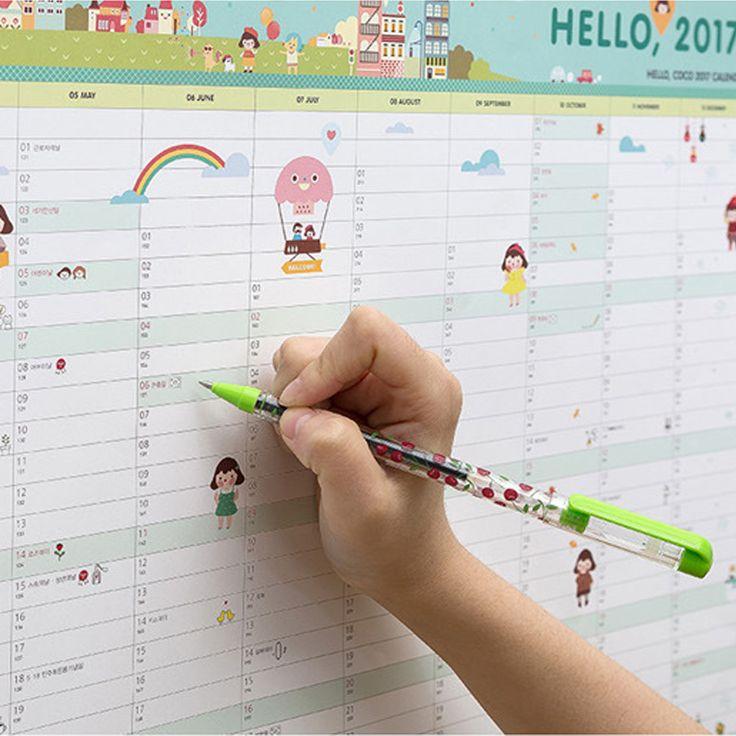 Hello 2017 Kalender Upaya Rencana buku Lucu Kartun kawaii perlengkapan Kantor mahasiswa Meja ide hadiah kertas buku Rencana catatan