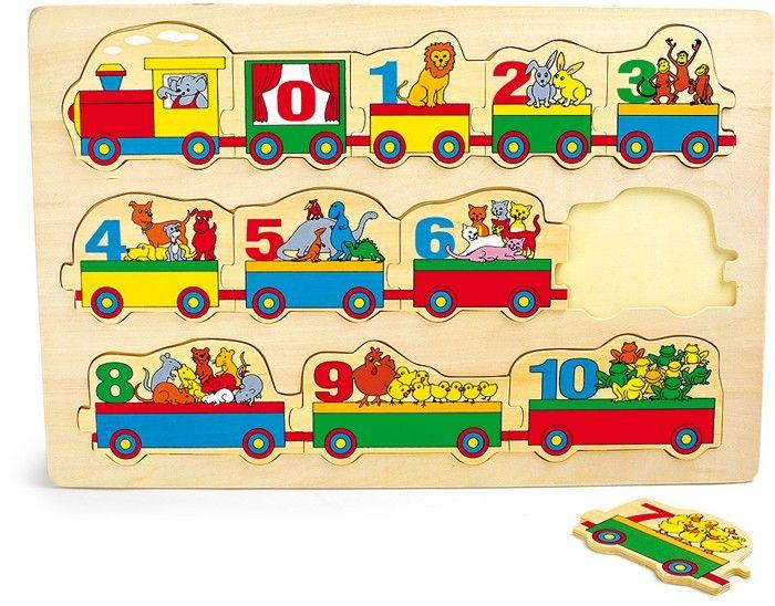 Numerojuna lähtee! Perinteinen nuppipalapeli puusta, jokainen vaunu täynnä eläinystäviä.