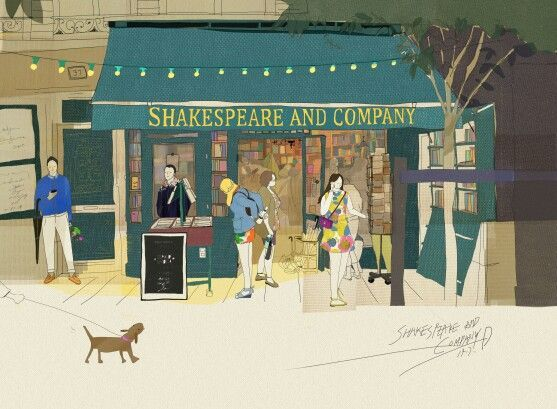Image result for shakespeare and company illustration