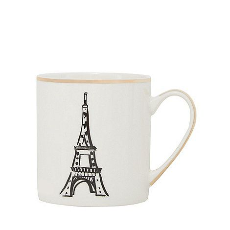 This mug will make an elegant addition to a tableware collection. Designed from fine china, it features a stylish Eiffel tower print and a bronze trim.