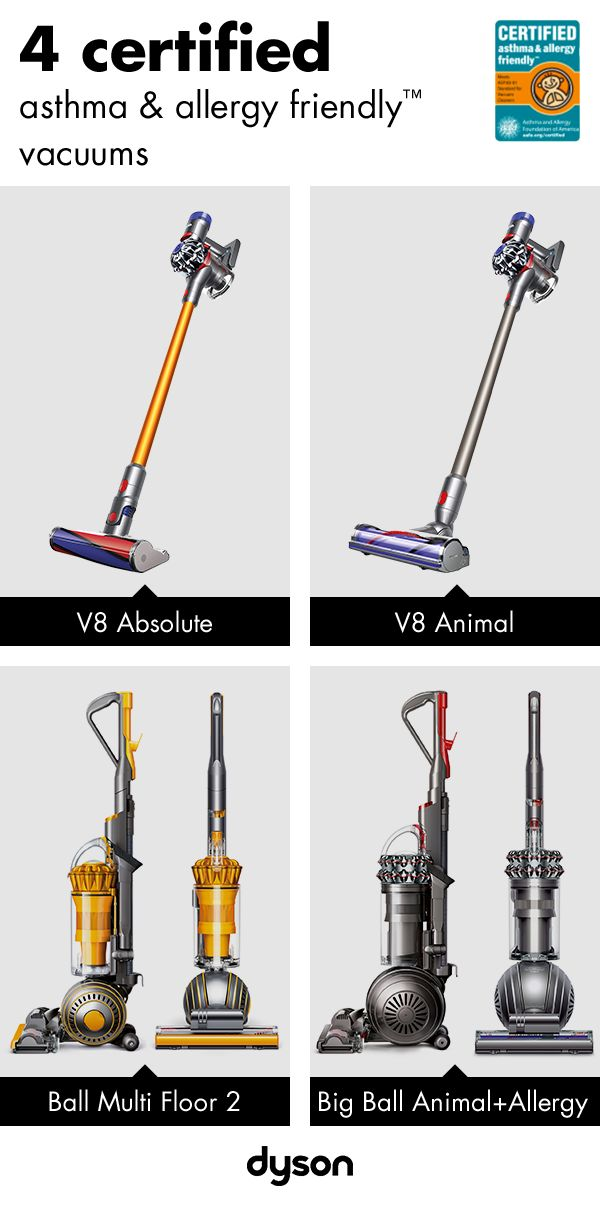Dyson has the largest range of certified asthma & allergy friendly™ technology. Our microbiologists and engineers work tirelessly to make sure our machines remove more and more allergens. Our cyclones have become so efficient, they expel air cleaner than the air your breathe. Explore our range today.