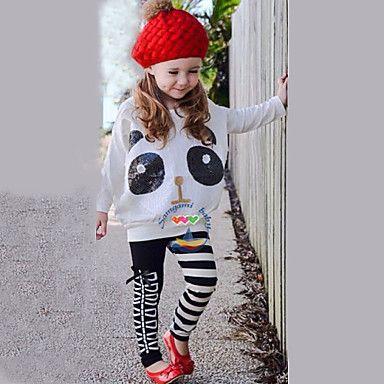Girl's+White+Clothing+Set,Cartoon+/+Stripes+Cotton+/+Polyester+/+Spandex+Fall+/+Spring+–+USD+$+12.99