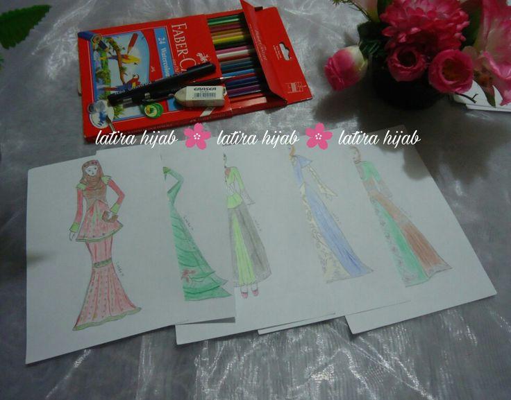 Muslimah Design. Dress with Hijab. Sketch book. Drawing. Art.