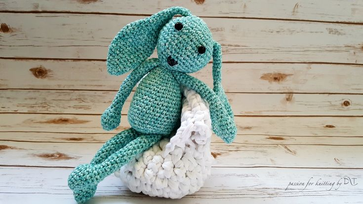 Crochet handmade Bunny light blue https://www.facebook.com/DLThandmade/ #crochetbunny made with love for a happy childhood #crochettoy #DLThandmade #passionforknitting