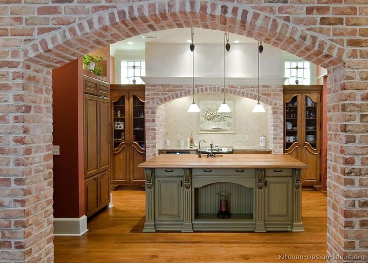 #Kitchen of the Day (1 of 2): Old World Kitchen with Brick Arches and Antique Cabinets  (Kitchen-Design-Ideas.org)