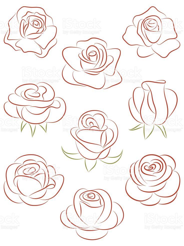Ensemble de roses. illustration vectorielle. stock vecteur libres de droits libre de droits