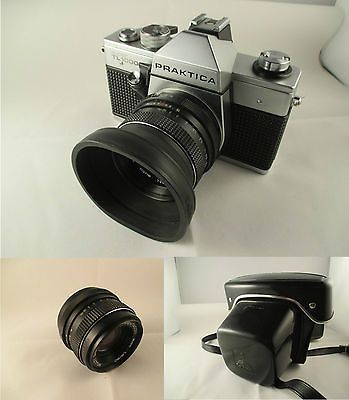 Vintage Praktica TL1000 35mm, Leather Case, Hoya Lens Hood, Pentacon 1.8/50 Lens