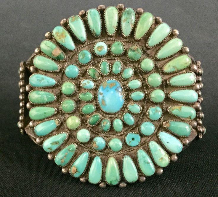 Vintage Turquoise & Sterling Cluster Bracelet *Native American Indian *Dead Pawn