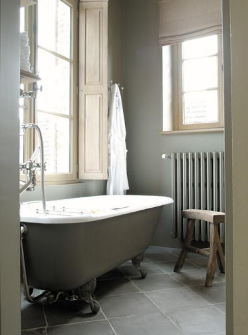 Grey Bathroom - like the radiator