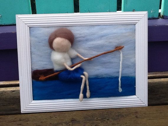 Made to order Needle Felted Painting of Boy by WoolyRooDolls, $45.00