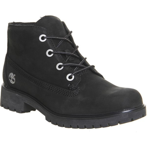 Timberland Slim Nellie Chukka Boots (205 CAD) ❤ liked on Polyvore featuring shoes, boots, ankle booties, black nubuck, hers exclusives, women, black chukka boots, short boots, lace up boots and black lace up ankle booties