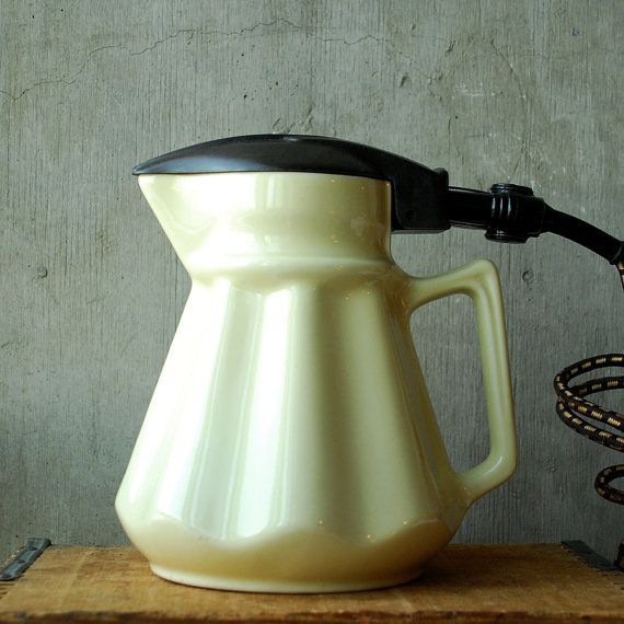 Vintage Australian Electric Jug Kettle Pale Yellow Ceramic