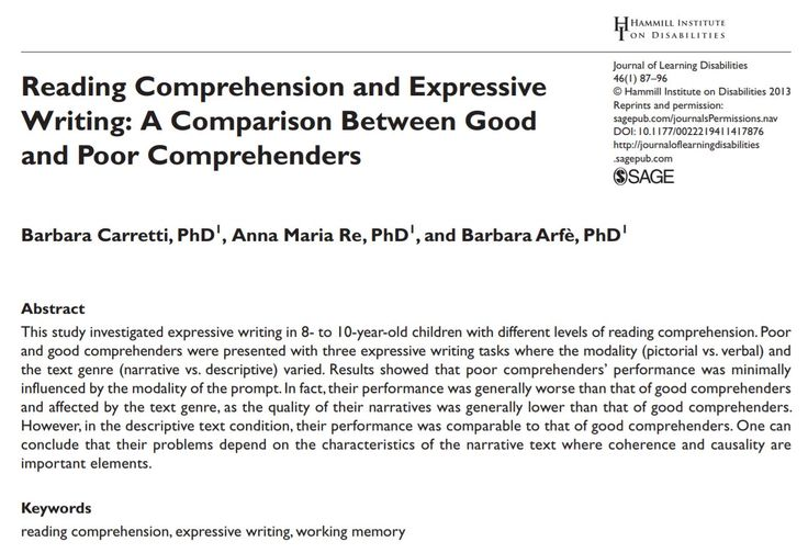 Caretti and colleagues (2013) evaluated the writing performance of good and poor comprehenders. I believe the results of this study can provide educators with a better understanding of why some students experience difficulties with specific writing tasks. Moreover, this article can help educators adapt their instruction. For example, poor comprehenders may require individualized support during narrative writing tasks.