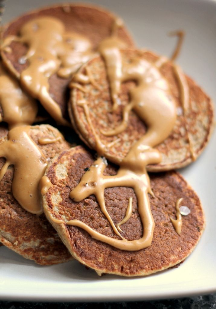 Healthy Cinnamon Applesauce Oatmeal Pancakes with Salted Peanut Butter Maple Syrup - gluten free