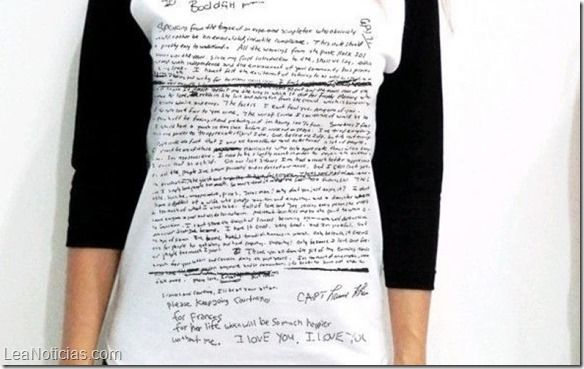 Polémica venta de camiseta con la carta de suicidio de Kurt Cobain estampada - http://www.leanoticias.com/2015/01/19/polemica-venta-de-camiseta-con-la-carta-de-suicidio-de-kurt-cobain-estampada/