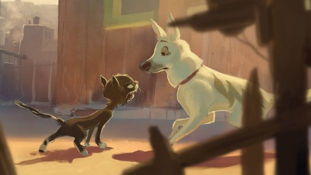 """Bolt (character) - Disney  Early concept designs of Bolt had him much larger and more realistically proportioned as a white GSD. Later they decided to make him unusually small to make him seem more """"vulnerable."""""""
