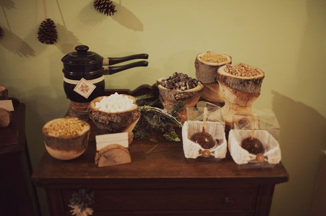 bundled up - a winter bachelorette party with candy apple station and hot cocoa liquor bar