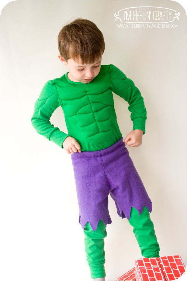 Hulk Costume Tutorial - the pattern for the actual shirt/pants (PJs) she bought but she includes a free pattern for the muscle detail - size 5ish