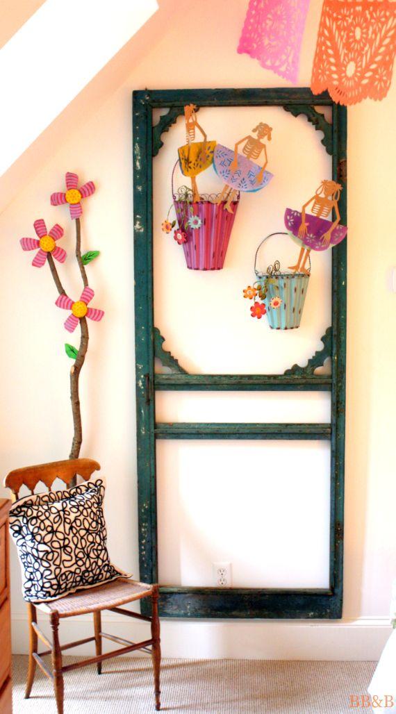 Upcycle an old screened door into wall art. #LauraTrevey #BoldBrightBeautiful