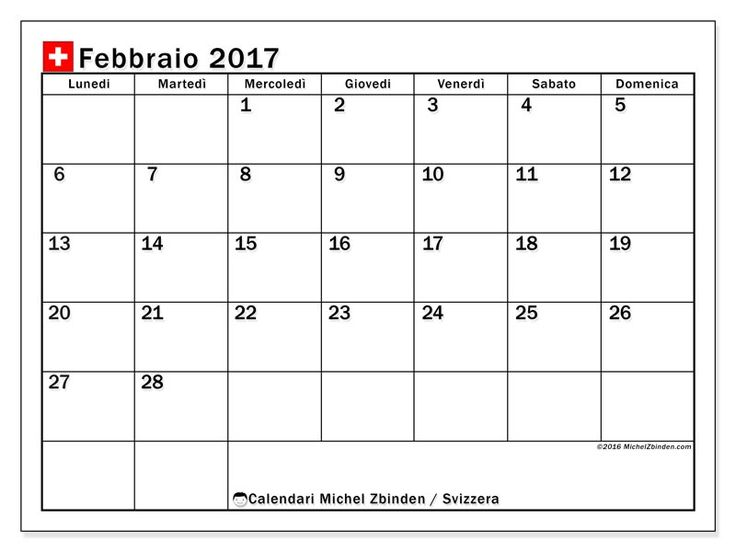 Gratis! Calendari per febbraio 2017 da stampare - Svizzera