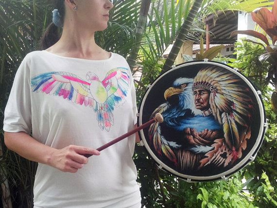 Native American Indian frame hand drum is great for music festivals, ethnic festivals and dance festivals.