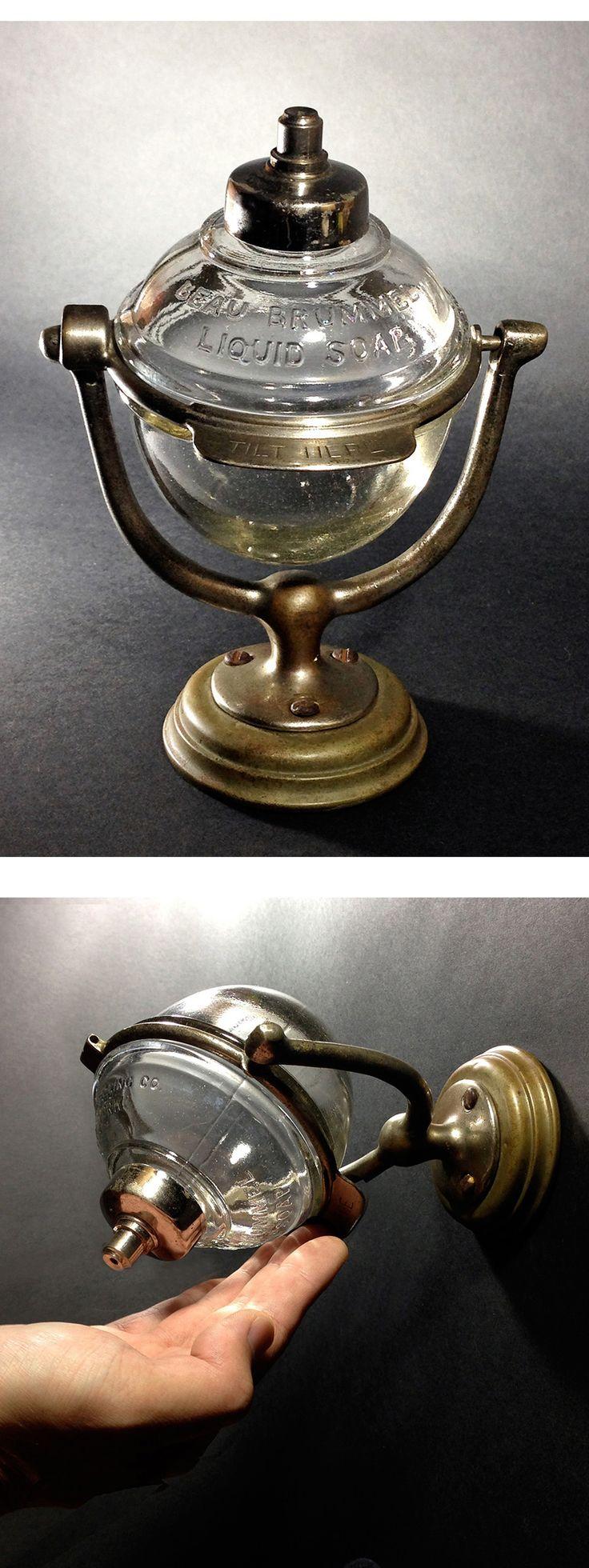 1910'sアンティークガラスソープディスペンサー鏡石鹸照明ランプ - ヤフオク!