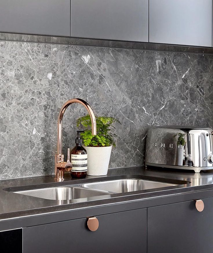 Grey and rose gold kitchen